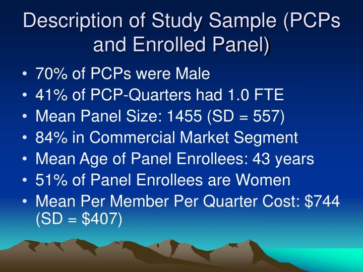 Description of Study Sample (PCPs and Enrolled Panel)