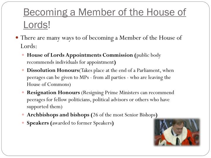 Becoming a Member of the House of Lords