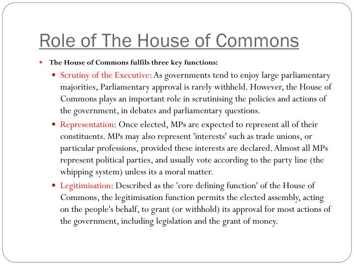 Role of The House of Commons