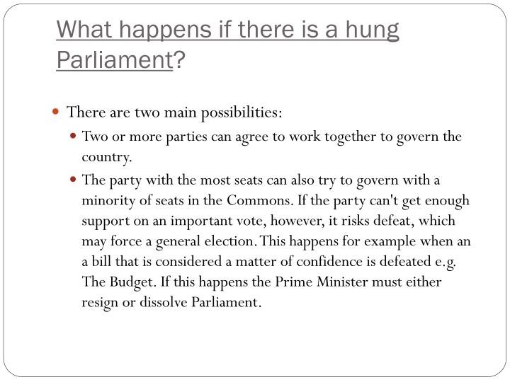 What happens if there is a hung Parliament