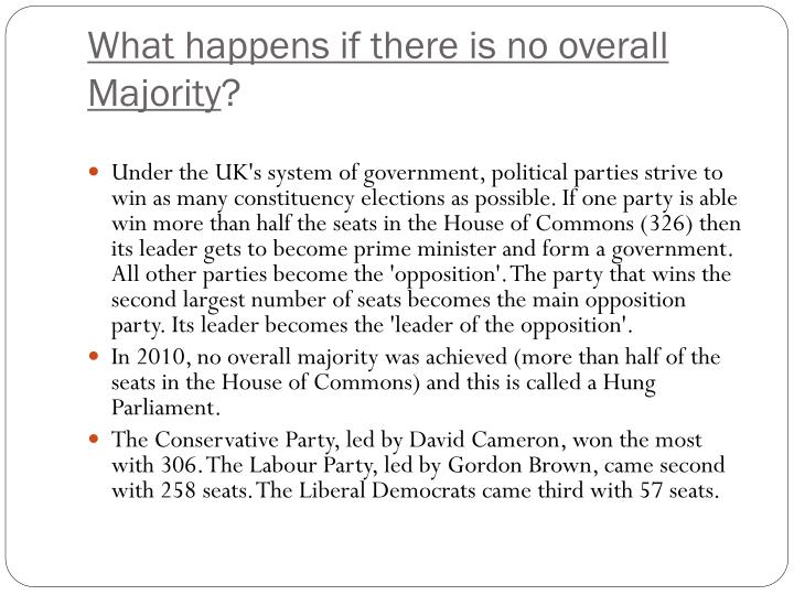 What happens if there is no overall Majority