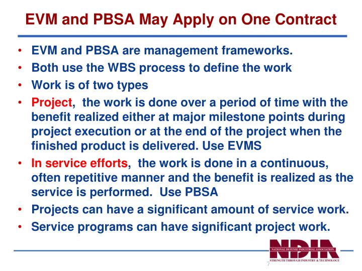 EVM and PBSA May Apply on One Contract