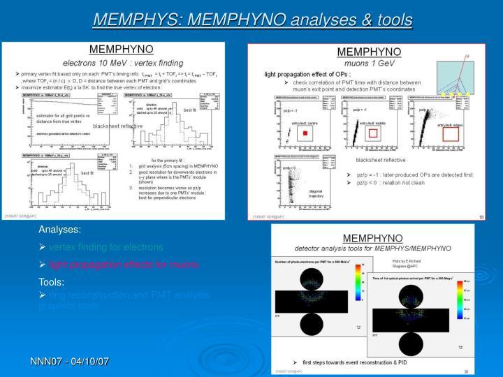 MEMPHYS: MEMPHYNO analyses & tools
