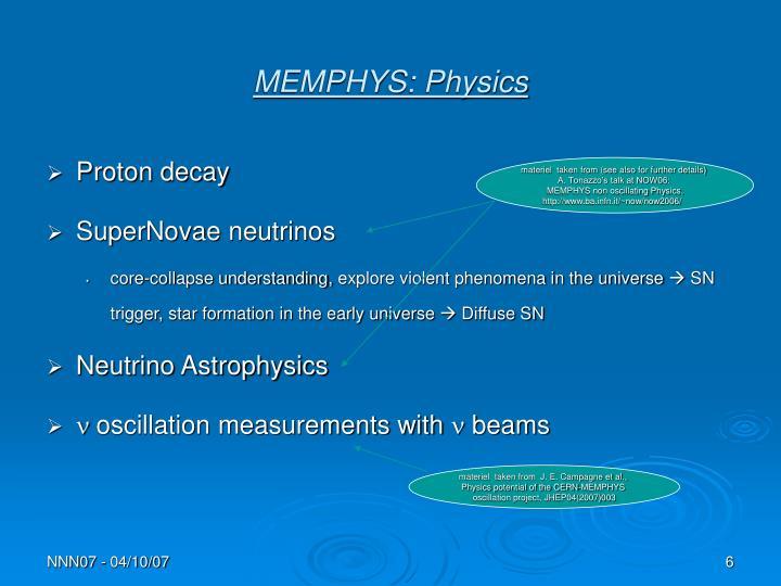 MEMPHYS: Physics
