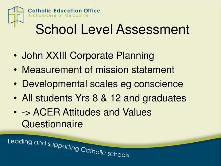 School Level Assessment