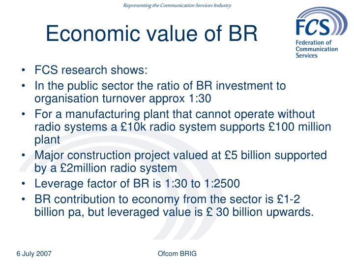 Economic value of BR