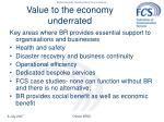 value to the economy underrated