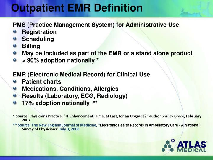 Outpatient EMR Definition