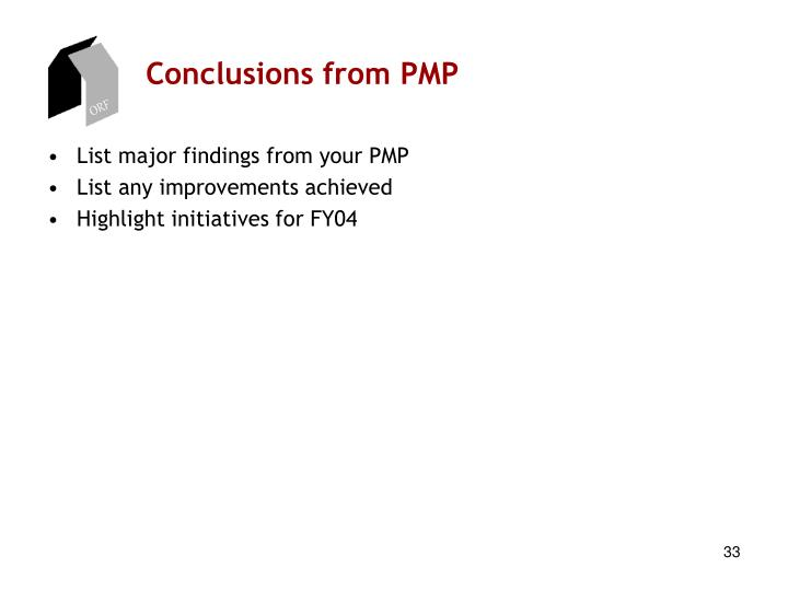 Conclusions from PMP