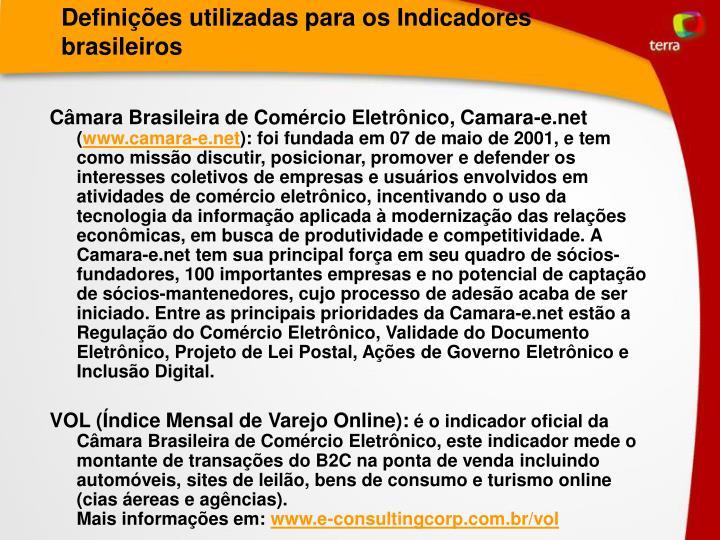 Definições utilizadas para os Indicadores brasileiros