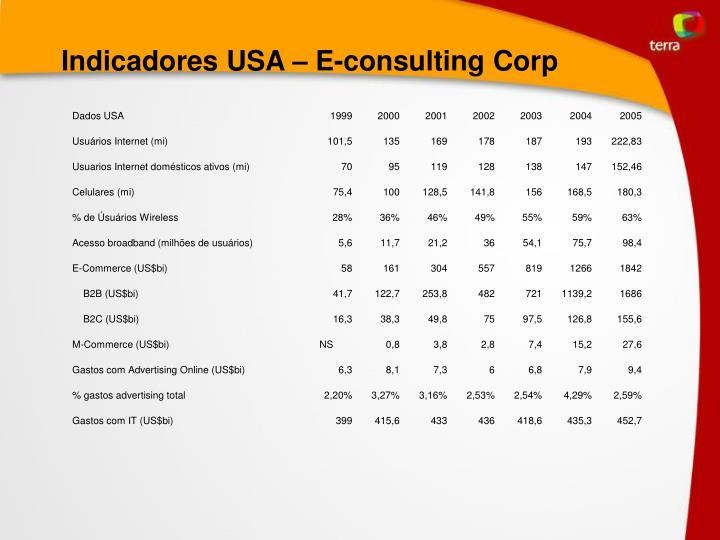 Indicadores USA – E-consulting Corp