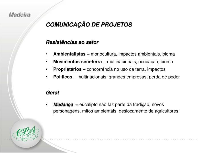 COMUNICAÇÃO DE PROJETOS