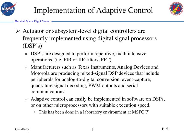 Implementation of Adaptive Control