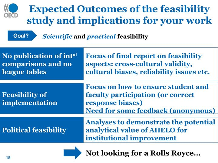 Expected Outcomes of the feasibility study and implications for your work