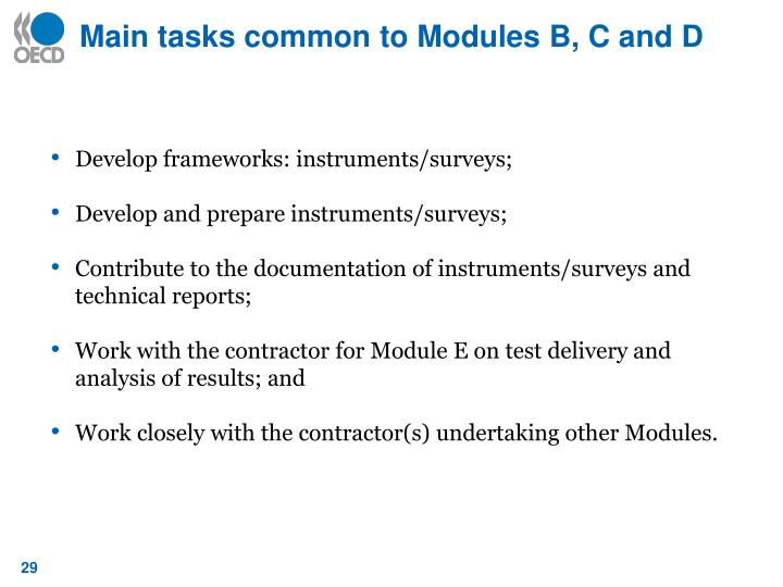 Main tasks common to Modules B, C and D
