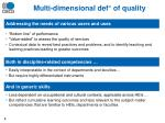 multi dimensional def of quality