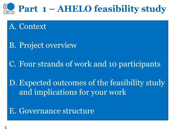 Part  1 – AHELO feasibility study