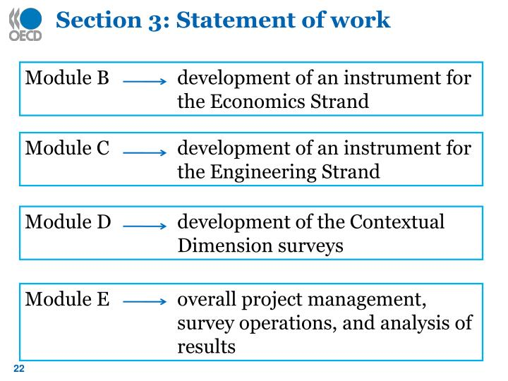 Section 3: Statement of work