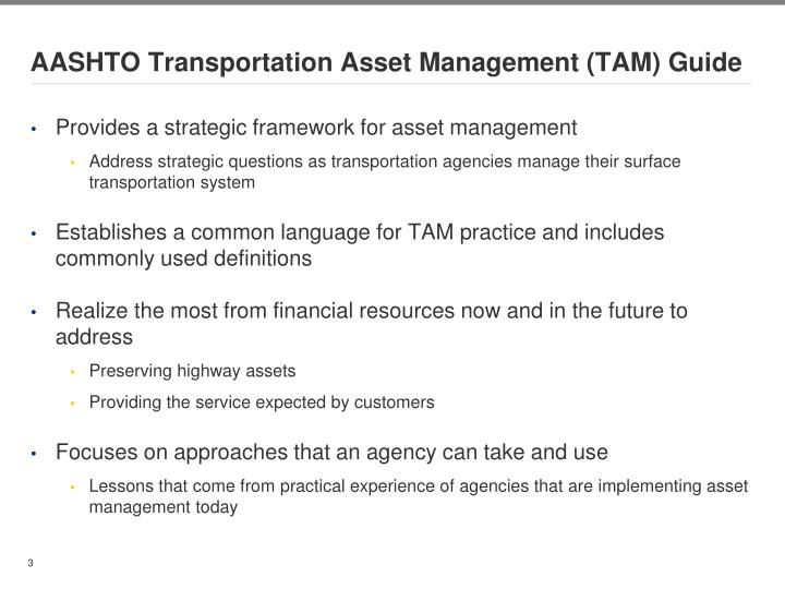 AASHTO Transportation Asset Management (TAM) Guide