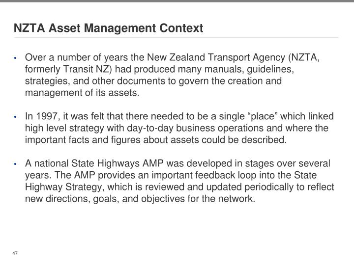 NZTA Asset Management Context