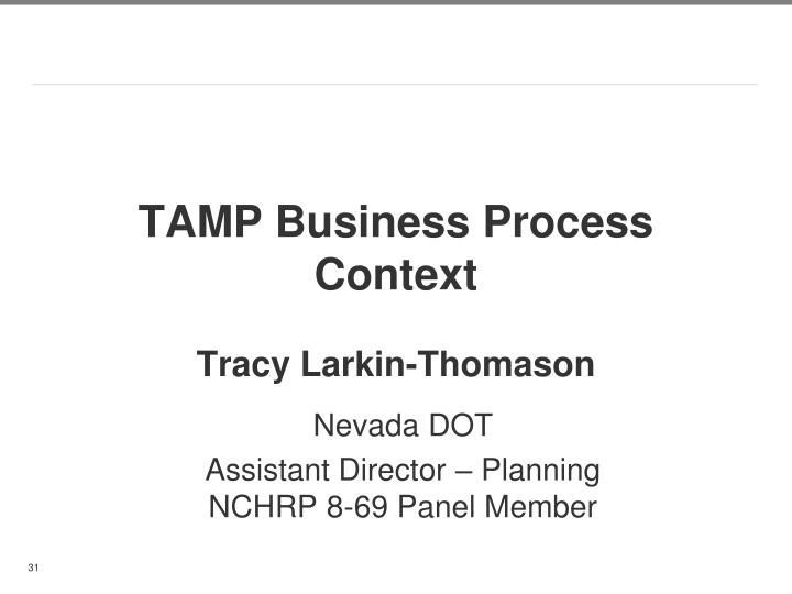 TAMP Business Process Context