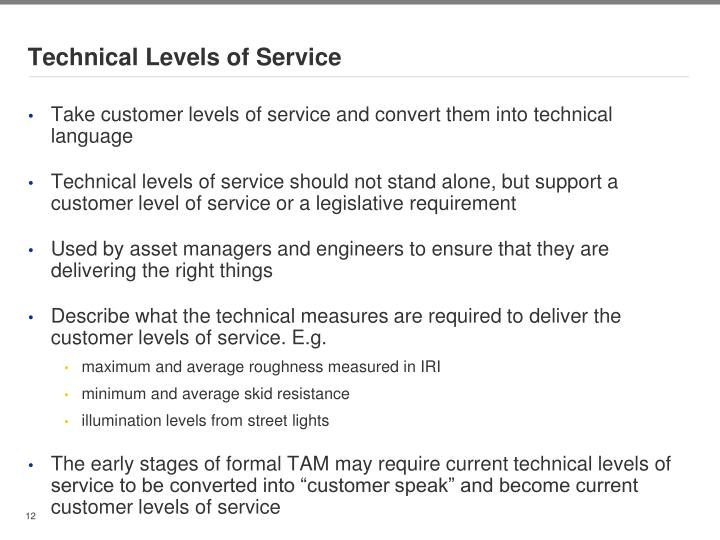 Technical Levels of Service