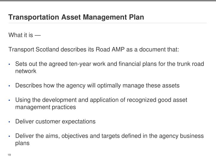 Transportation Asset Management Plan