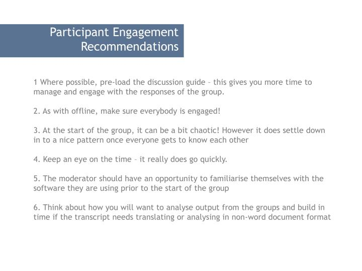 Participant Engagement Recommendations