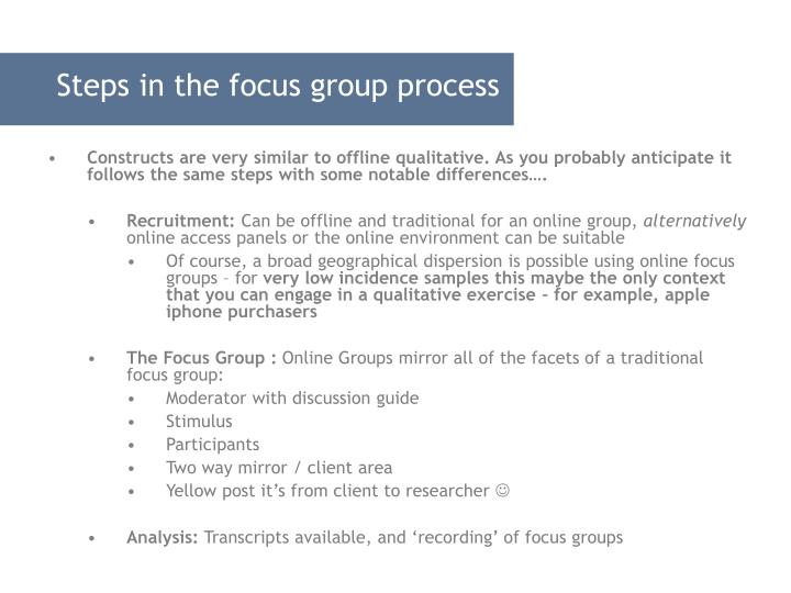 Steps in the focus group process