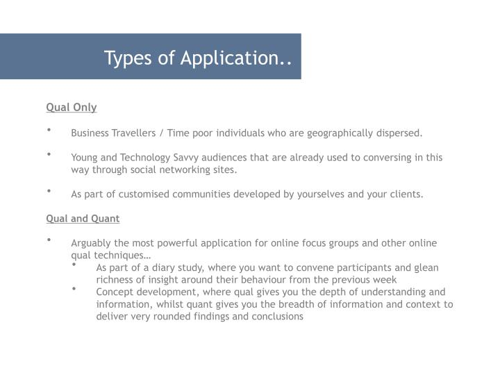Types of Application..