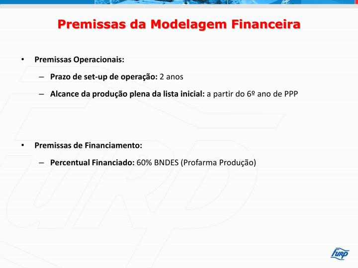 Premissas da Modelagem Financeira