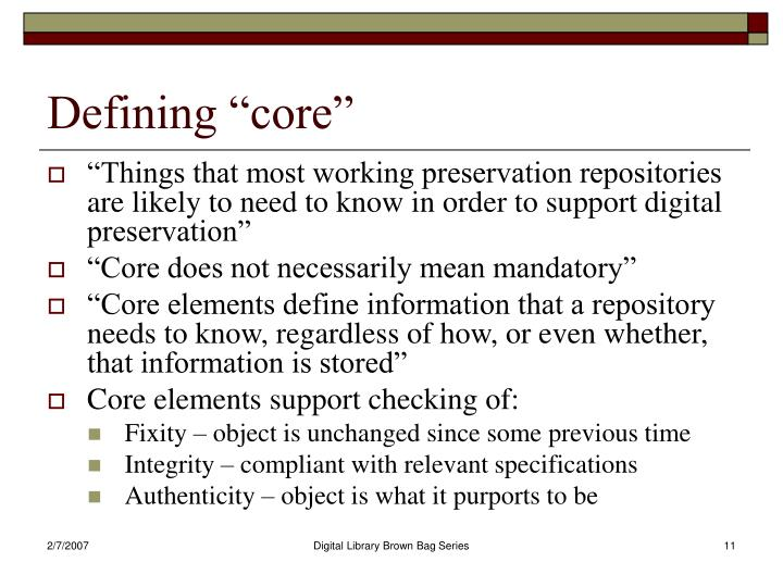 "Defining ""core"""