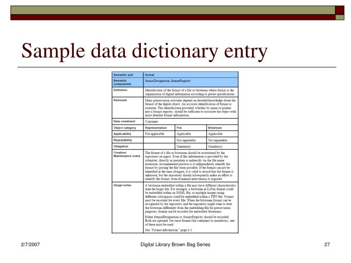 Sample data dictionary entry