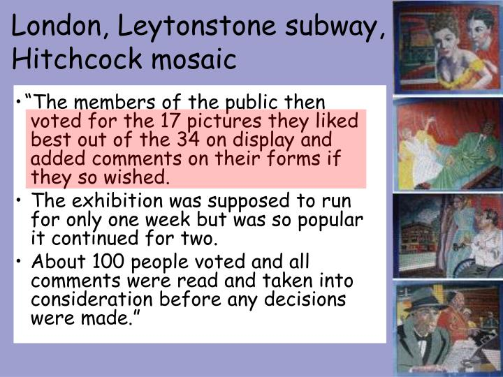 London, Leytonstone subway, Hitchcock mosaic