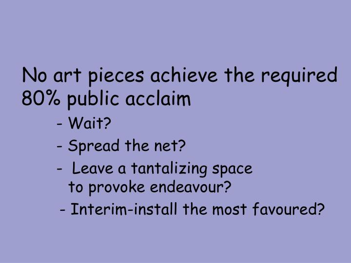 No art pieces achieve the required 80% public acclaim