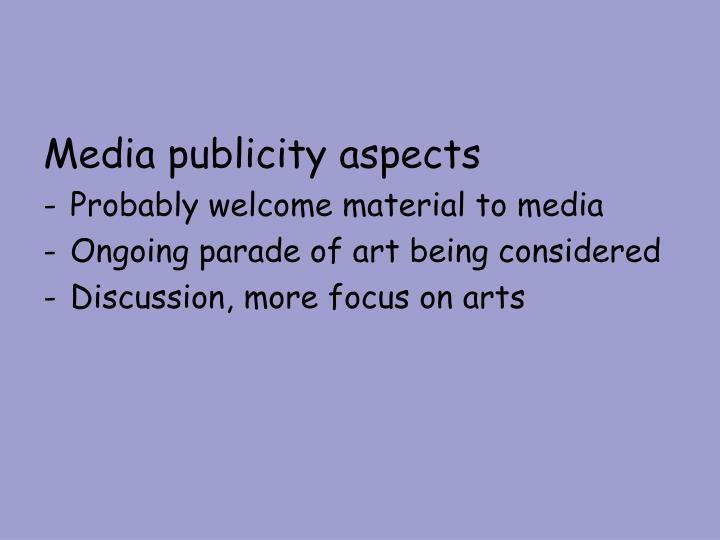 Media publicity aspects