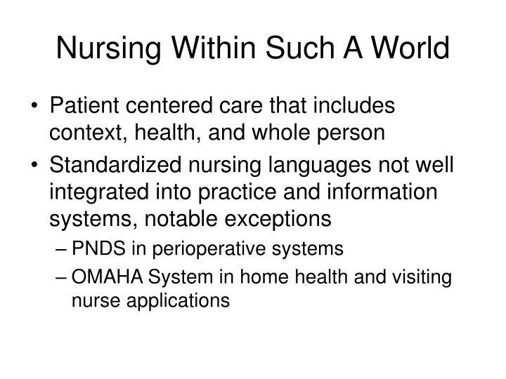 Nursing Within Such A World