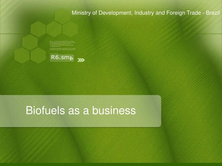 Biofuels as a business