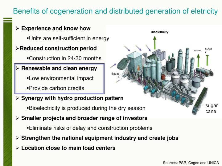 Benefits of cogeneration and distributed generation of eletricity