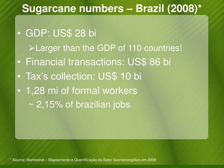 Sugarcane numbers – Brazil (2008)*