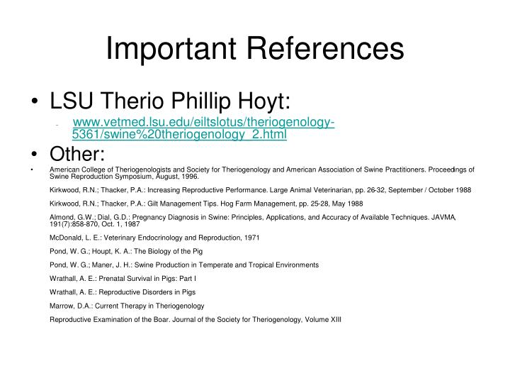 Important references