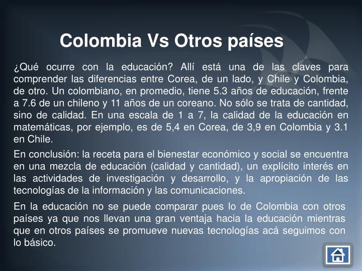 Colombia Vs Otros países