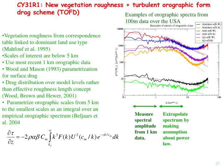 CY31R1: New vegetation roughness + turbulent orographic form drag scheme (TOFD)