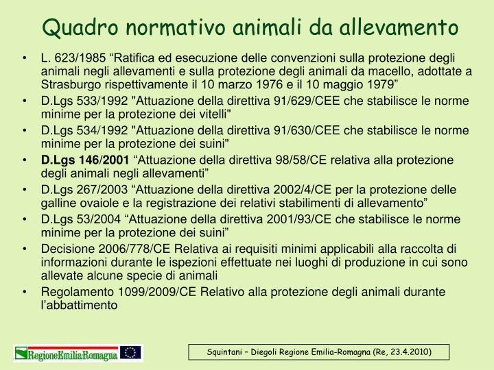 Quadro normativo animali da allevamento