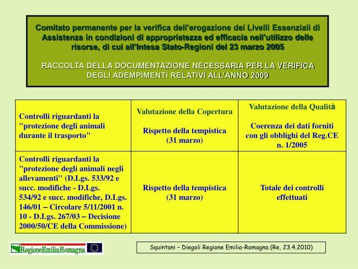 Comitato permanente per la verifica dell'erogazione dei Livelli Essenziali di Assistenza in condizioni di appropriatezza ed efficacia nell'utilizzo delle risorse, di cui all'Intesa Stato-Regioni del 23 marzo 2005