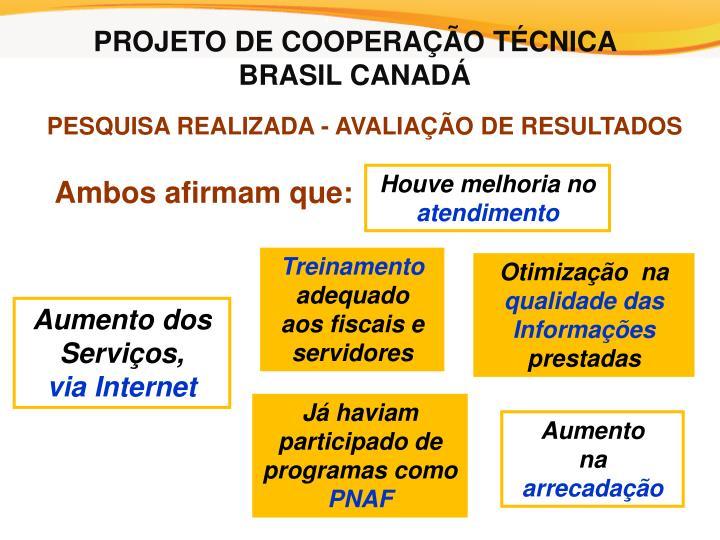 PROJETO DE COOPERAÇÃO TÉCNICA
