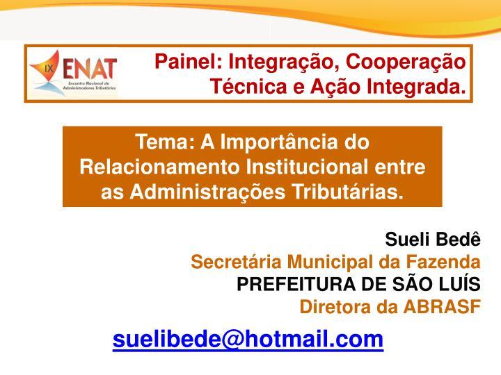 Painel: Integração, Cooperação