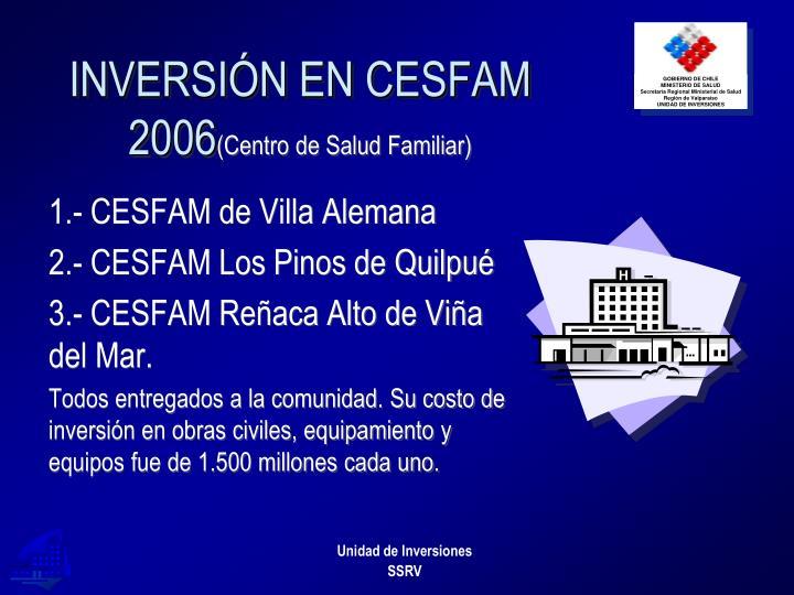 INVERSIÓN EN CESFAM 2006