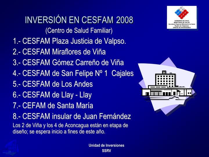 INVERSIÓN EN CESFAM