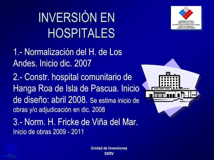 INVERSIÓN EN HOSPITALES
